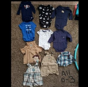 0 to 3 month boy clothes and some 6 month clothes